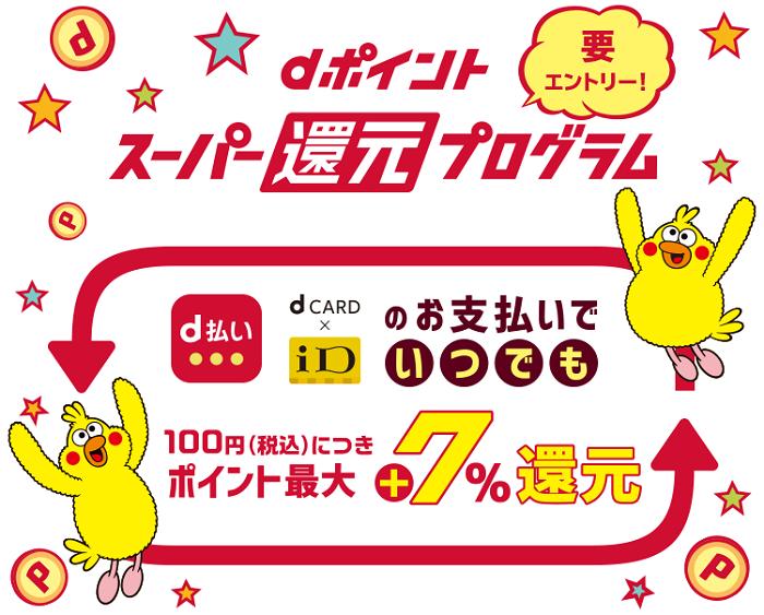 dポイントスーパー還元プログラムで還元率7%以上獲得出来る サルでも分かるおすすめクレジットカードオリジナル画像