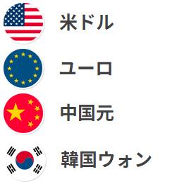 交換できる通貨は、ドル、ユーロ、元、ウォンの4種類