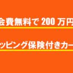 年会費無料で200万円のショッピング保険が付きカード